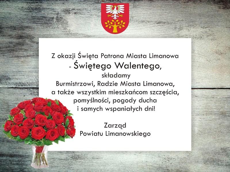 grafika z życzeniami, herbem powiatu limanowskiego i kwiatami