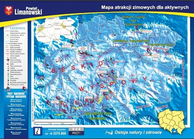 Mapa zimowa Powiatu Limanowskiego