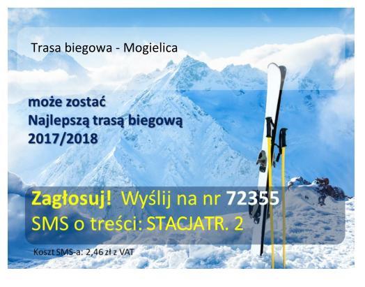 Plakat informujący o głosowaniu wraz z numerem telefonu na którym należy wysyłać SMSy