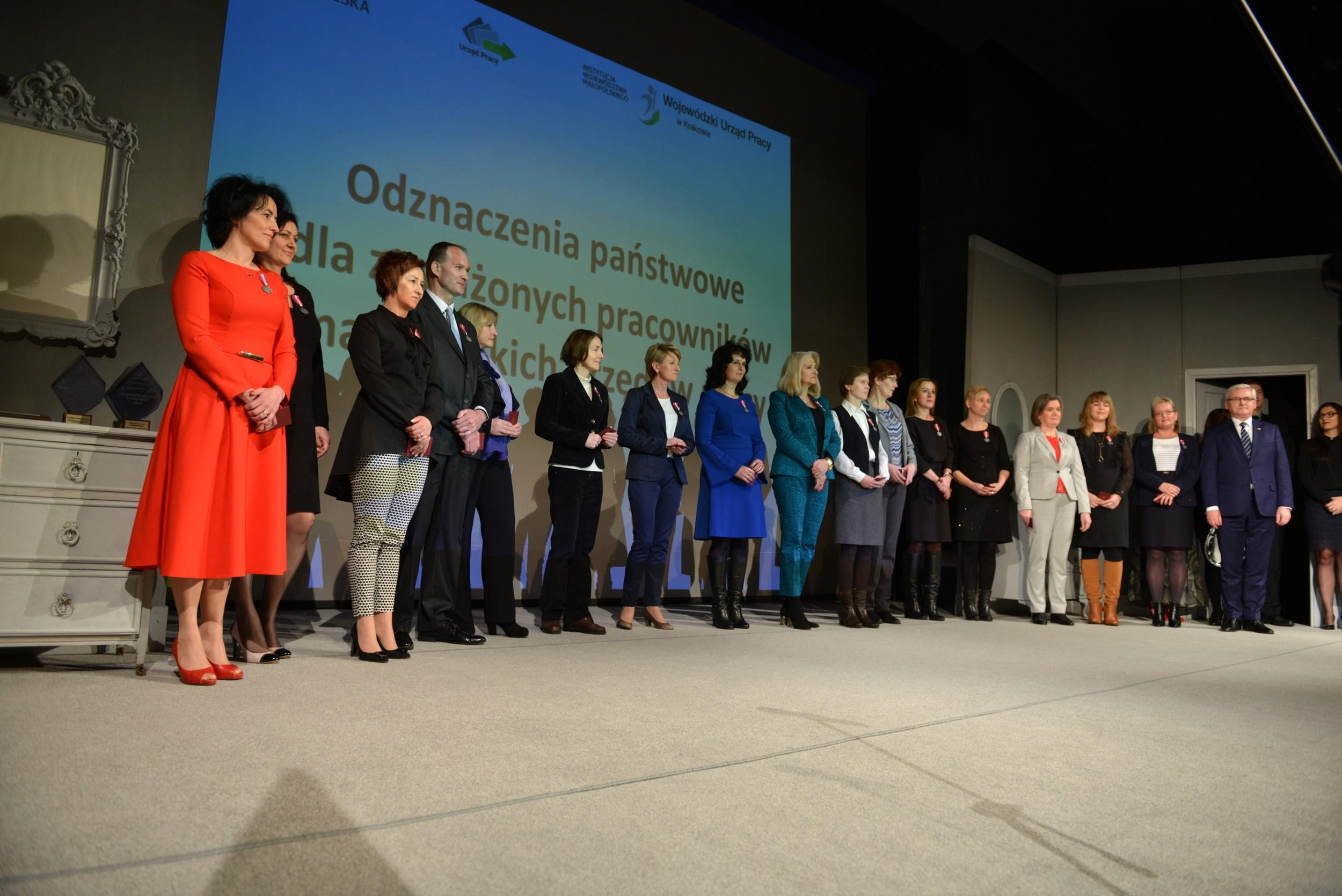 Pracownicy PUP Limanowa podczas uroczystego rozdania nagród