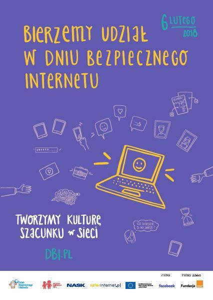 Plakat infromujący o dniu bezpiecznego internetu