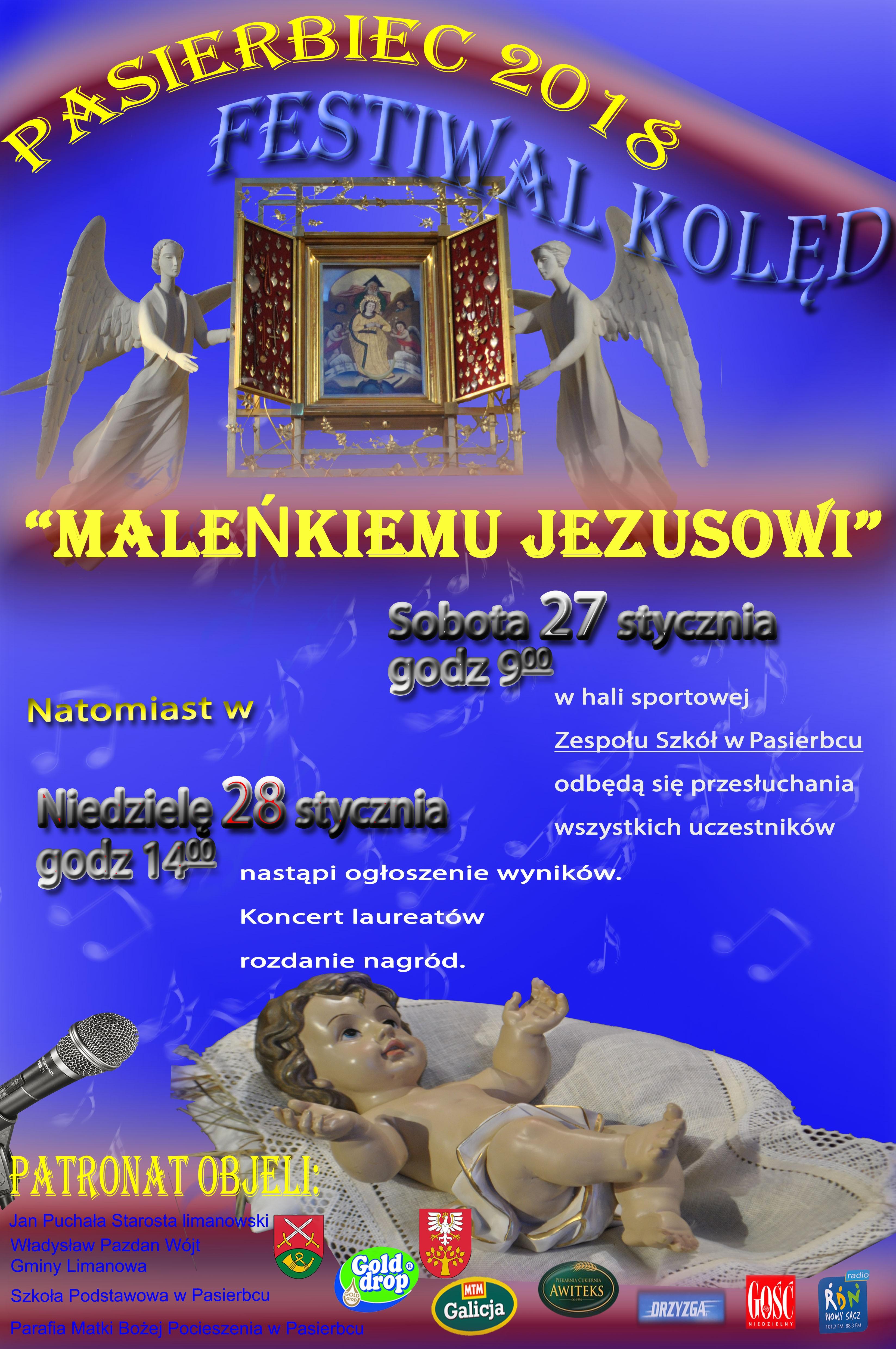 Plakat - festiwal kolęd Pasierbiec 2018