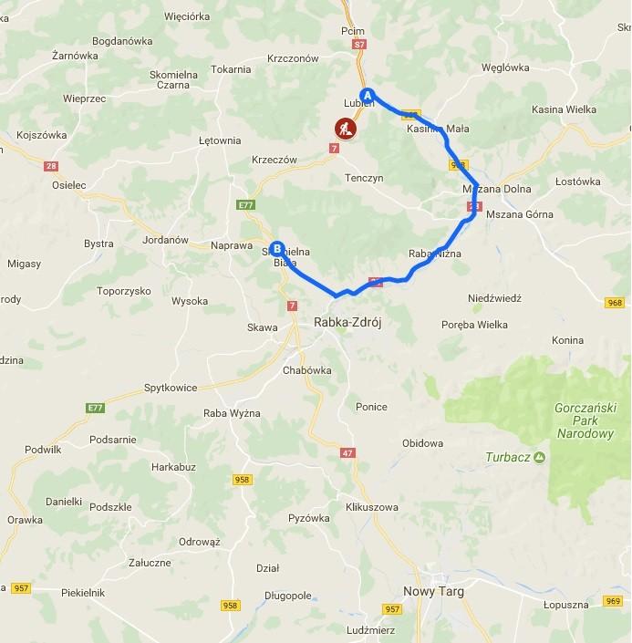 mapa z zaznaczoną drogą objazdową