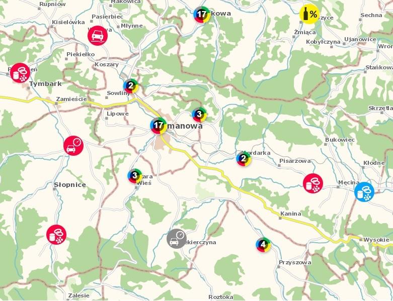 zrzut na Limanową z krajowej mapy bezpieczeństwa
