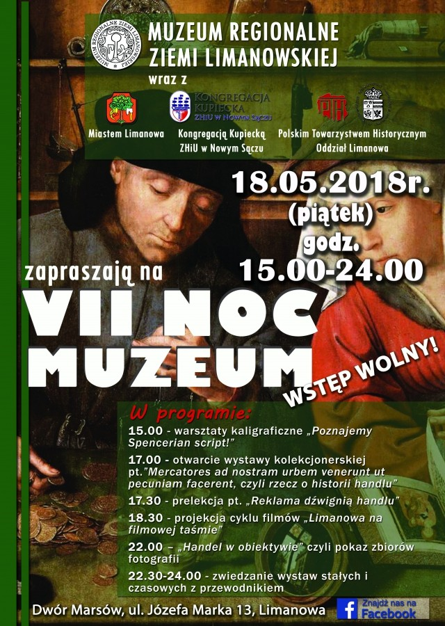 plakat Nocy muzeów w Limanowej