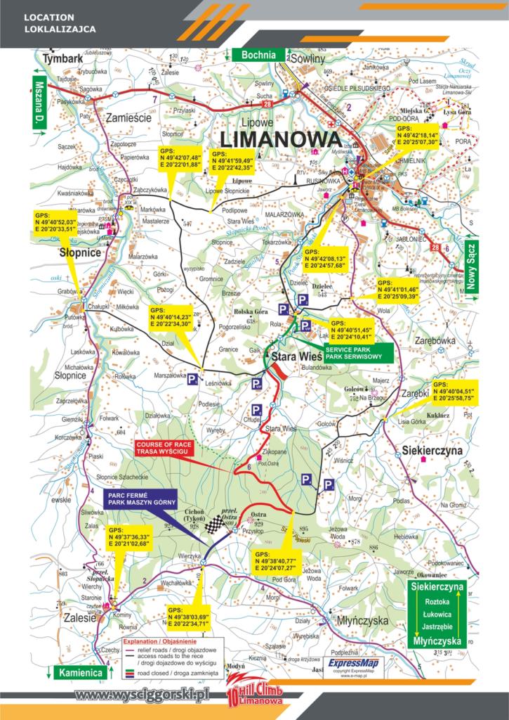 Mapy wyścigu górskiego i wyznaczonych objazdów