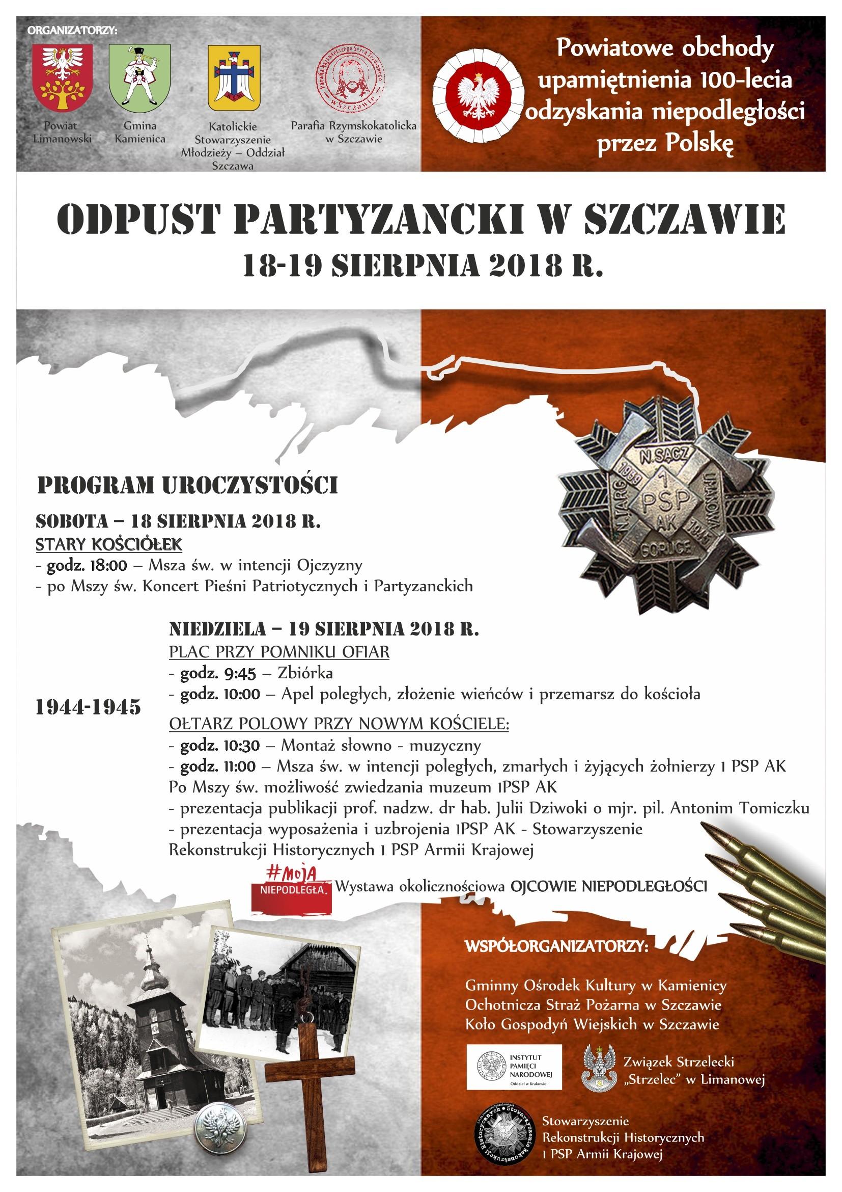 Plakat Odpustu Partyzanckiego w Szczawie