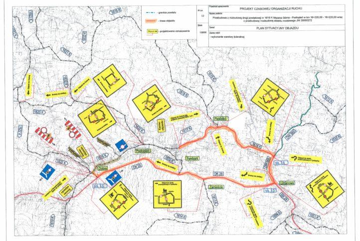mapa objazdu w związku z pracami drogowymi na odcinku drogi Mszana Dolna Podłopnień