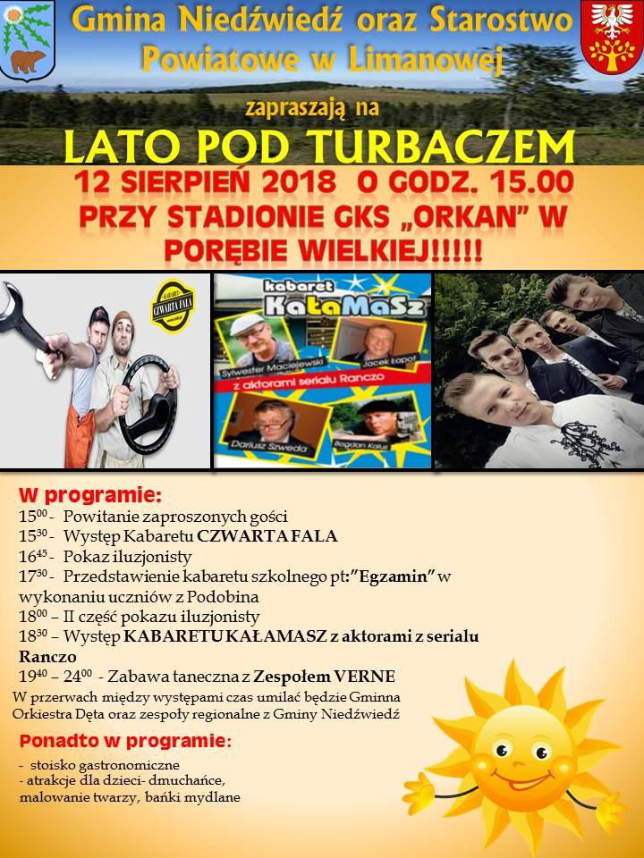lato pod Turbaczem 2018 - plakat informujący o wydarzeniu