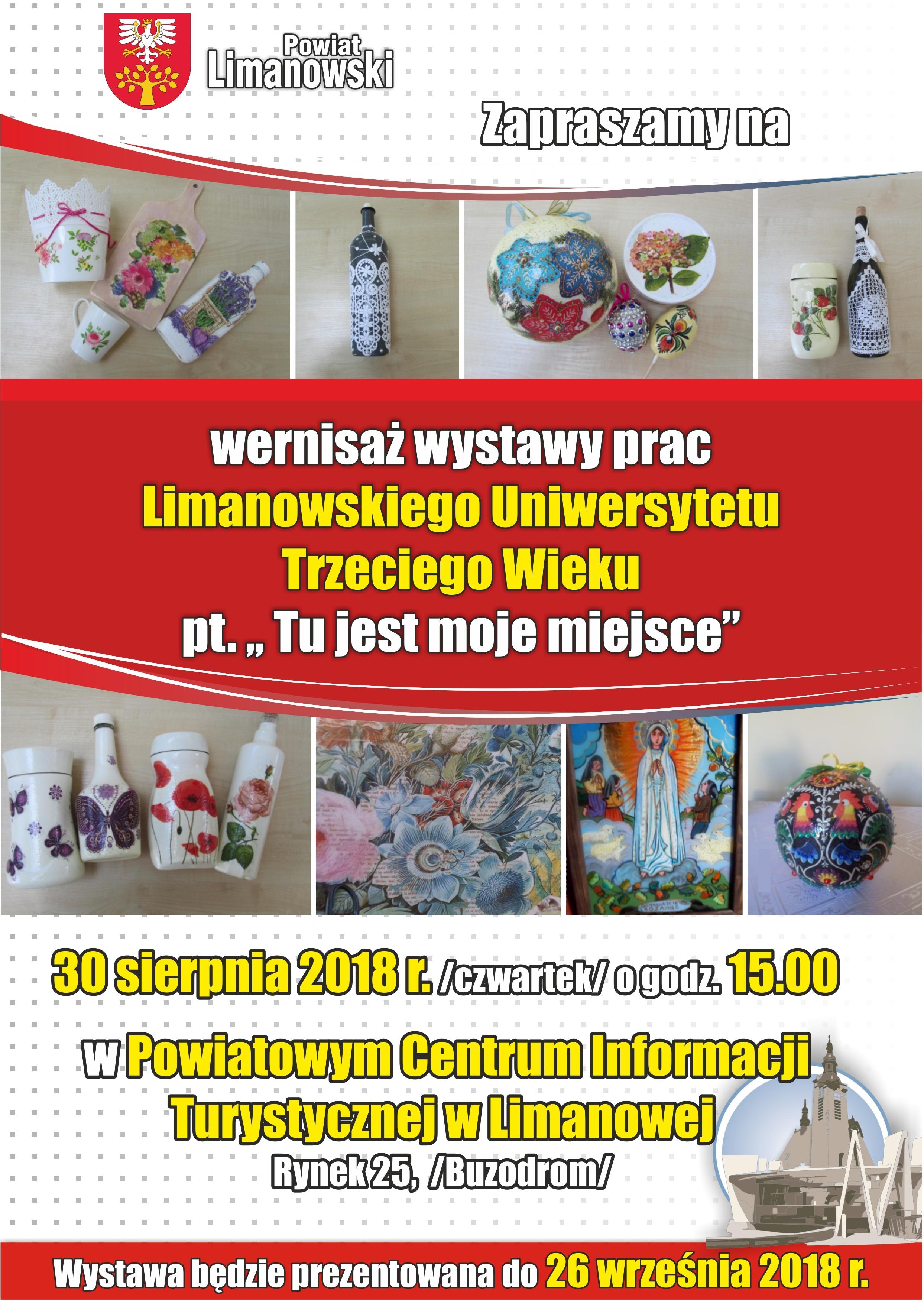 Wystwa Limanowksiego Uniwersytetu trzeciego Wieku - plakat