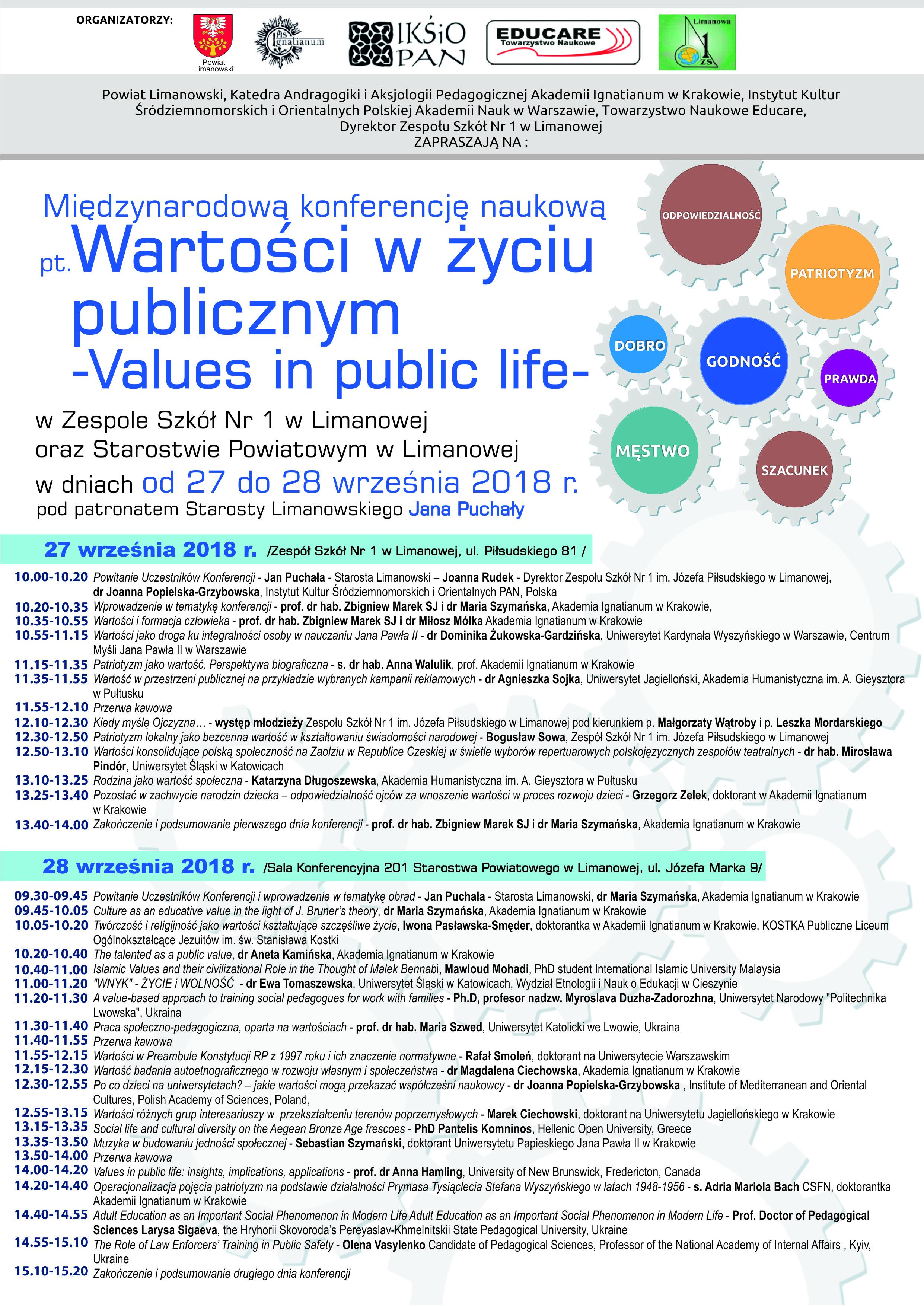 """plakat Międzynarodowej Konferencji Naukowej pt.: """"Wartości w życiu publicznym – Values in public life"""""""