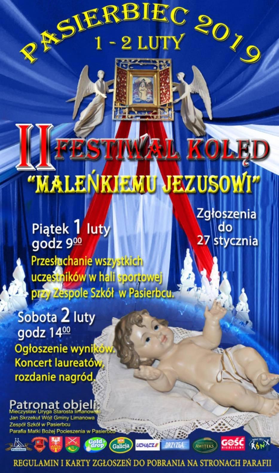 plakat informujący o Festiwalu kolędowym w Pasierbcu. Na plakacie zamieszczone informacje te które są w tekście.