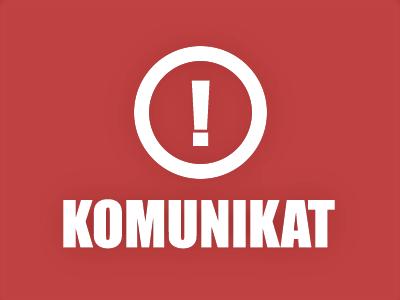 Napis komunikat na czerwonym tle z wykrzyknikiem w kole nad wyrazem.