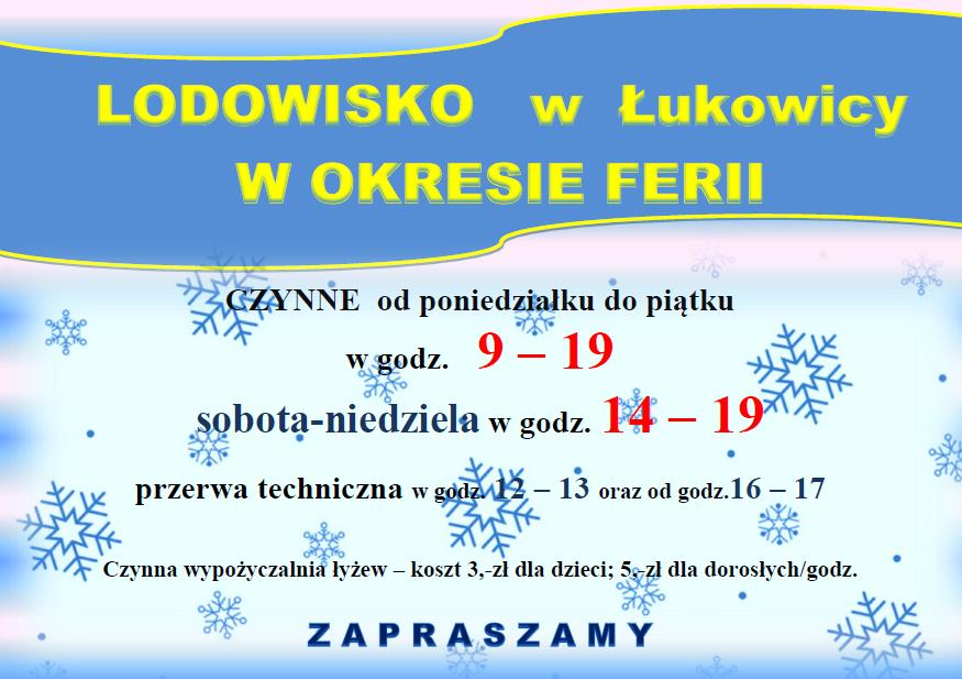 plakat wypożyczalni łyżew w Łukowicy. Na plakacie zamieszczone te same informacje co w tekście.