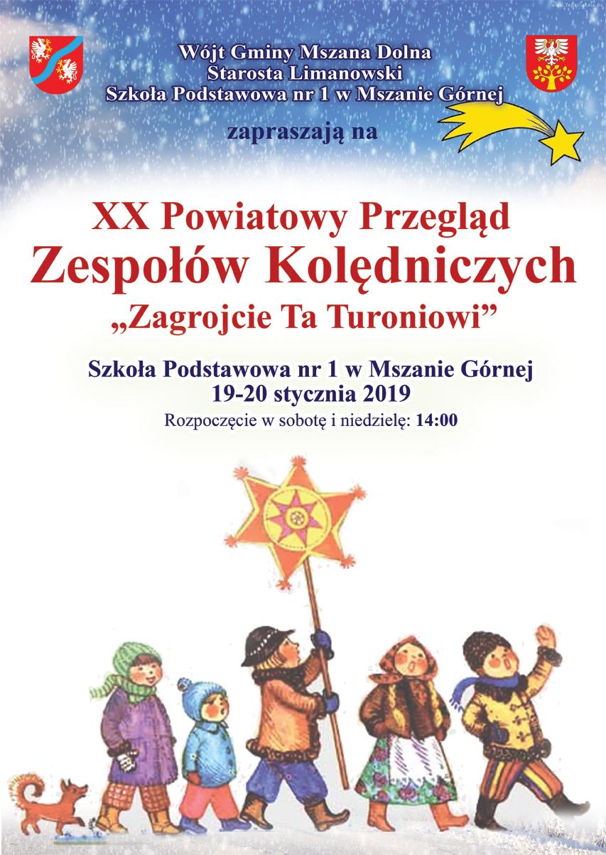 plakat XX przeglądu Grup Kolędniczych w Mszanie Górnej