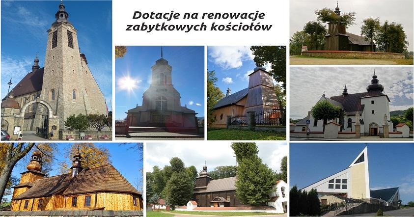 kolaż zdjęć kościołów które otrzymały dotację