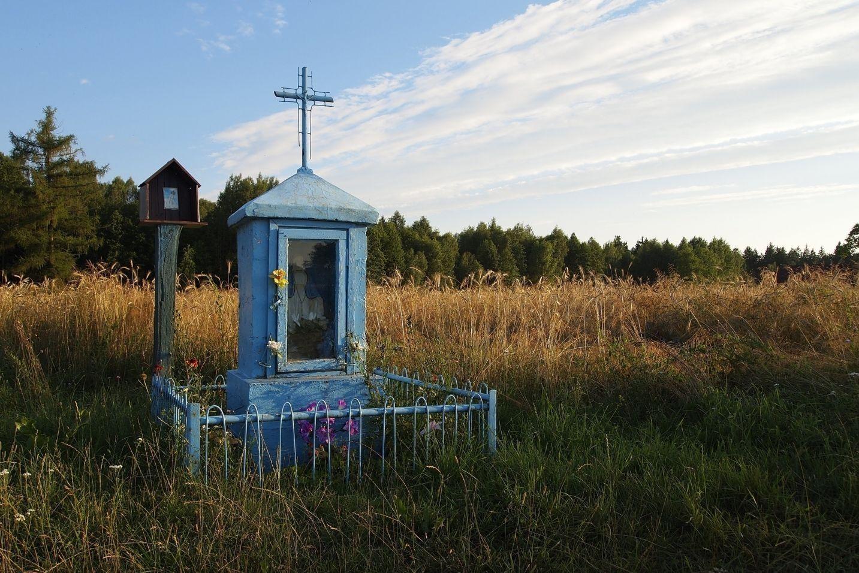 Kapliczka umieszczona na łące