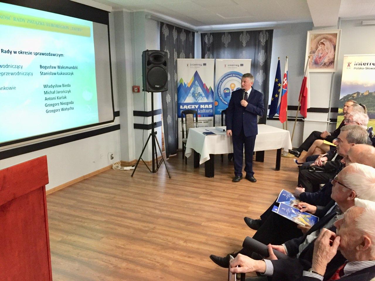 Starosta limanowksi na zdjęciu podczas XXv Kongresu Związku Euroregion Tatry