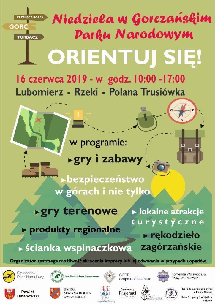 plakat informujący o spotkaniu z Gorczańskim Parkiem Narodowym