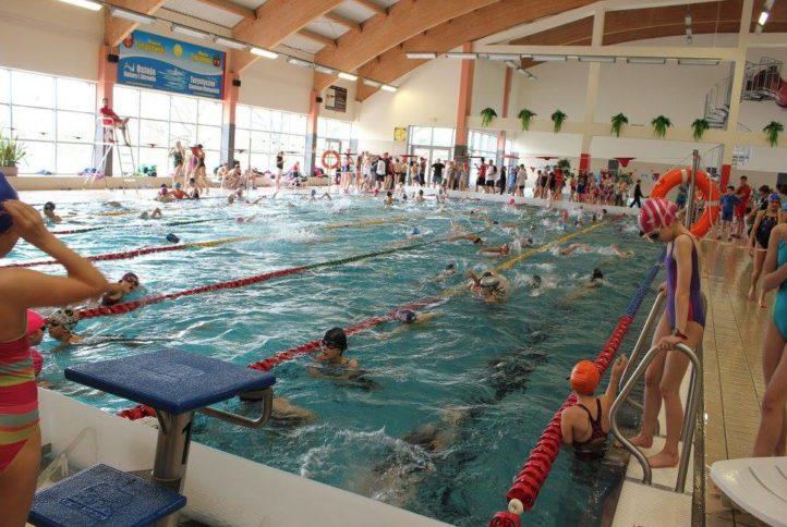 Basen - dzieci pływające na torach