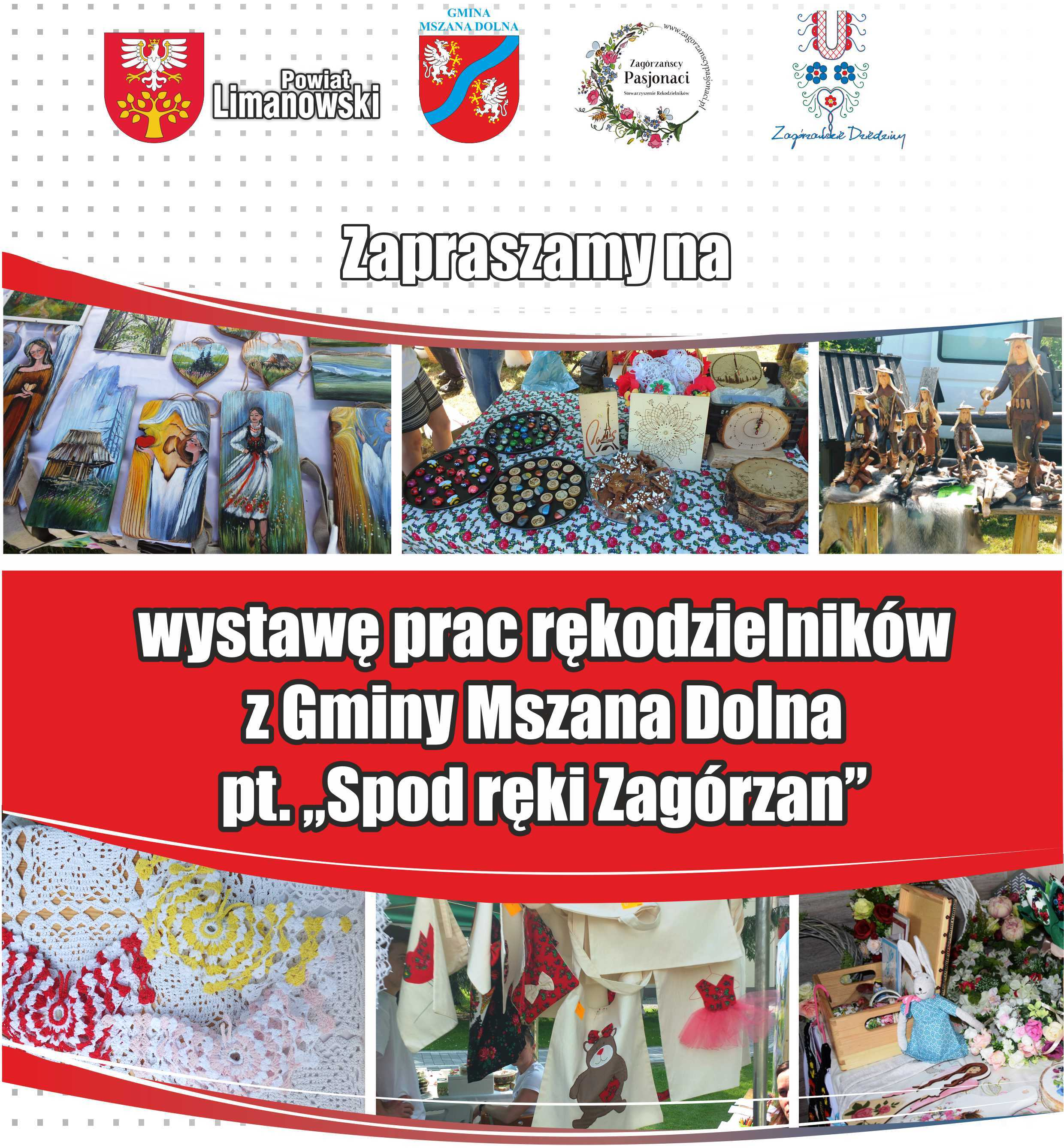 Plakat wystawy prac rękodzielników z gminy Mszana Dolna