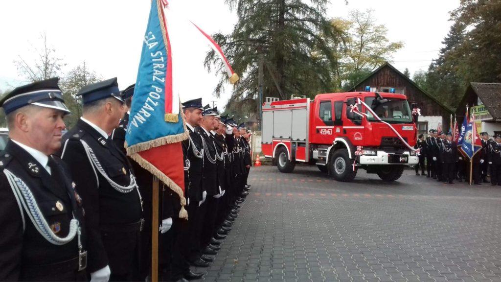 Przekazanie wozu strażackiego dla OSP Męcina