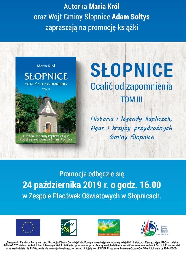 Słopnice monografia t. III, zaproszenie na prezentacje ksiązki