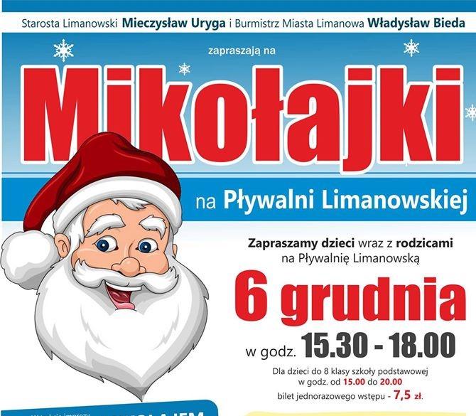 Mikołajki na Pływalni Limanowskiej - plakat informacyjny - zaproszenie