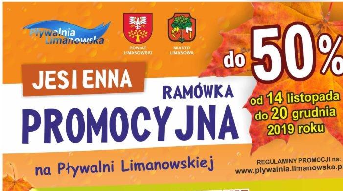 Jesienna Ramówka Promocyjna Pływalni Limanowskiej - plakat informacyjny
