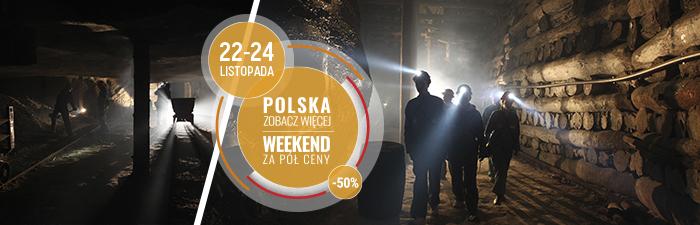 """Ogłoszenie akcji MOT Małopolska pn. """"Małopolska - zobacz wiecej. Weekend za pół ceny""""- plakat informacyjny"""