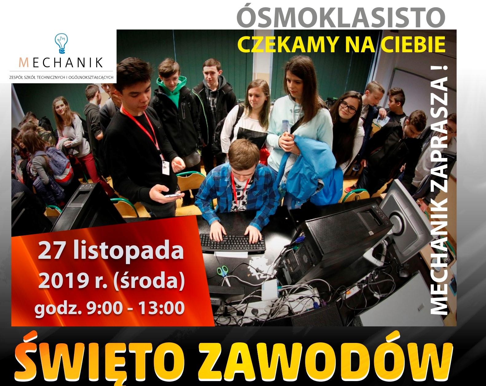 Święto Zawodów w ZSTiO Limanowa - plakat informacyjny, zaproszenie