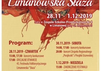 Limanowska Słaza 2019 listopad/grudzień - plakat informacyjny