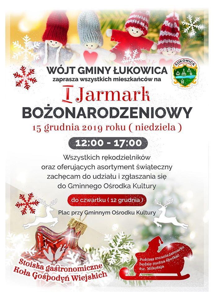 I Jarmark Bożonarodzeniowy w Łukowicy - plakat informacyjny
