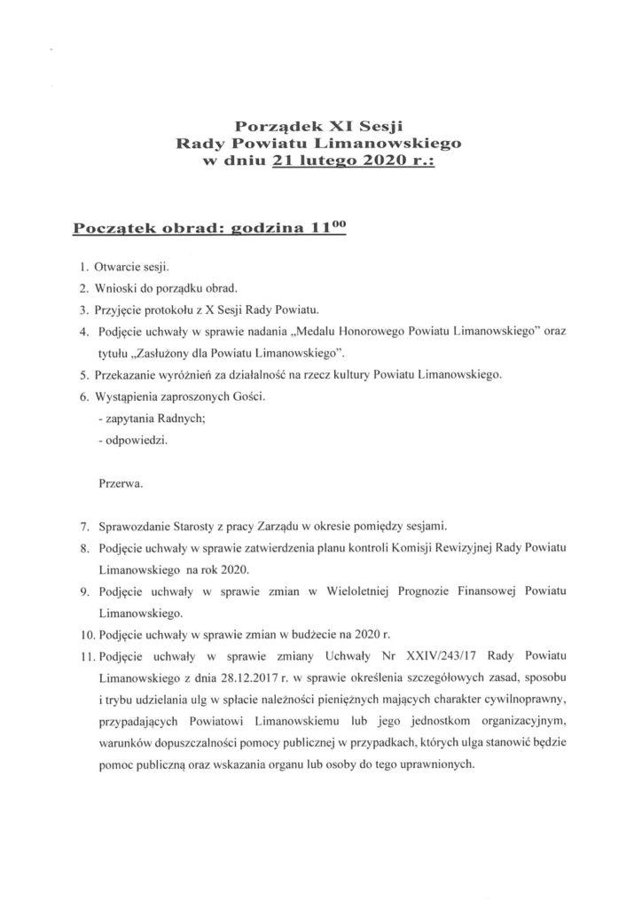 XI Sesjia Rady Powiatu Limanowskiego - porzadek obrad 1
