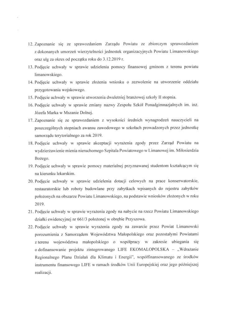 XI Sesjia Rady Powiatu Limanowskiego - informacja, porzadek obrad 2