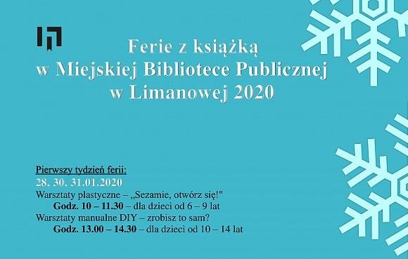 Ferie z książką w Miejskiej Bibliotece Publicznej w Limanowej 2020 - plakat