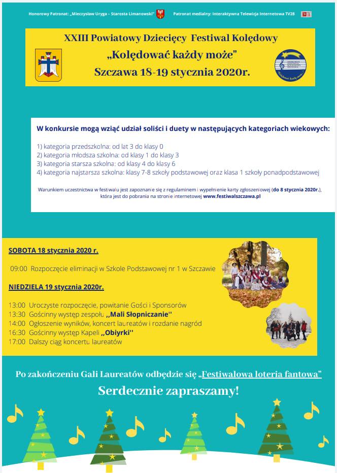 """XXIII Powiatowy Dziecięcy Festiwal Kolędowy """"Kolędować każdy może"""" - plakat"""
