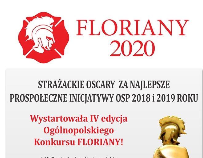"""Nagroda """"FLORIANY 2020"""" zajlepsze strażackie prospołeczne inicjatywy OSP 2018/2019 r. IV. edycja - logo, plakat informacyjny"""