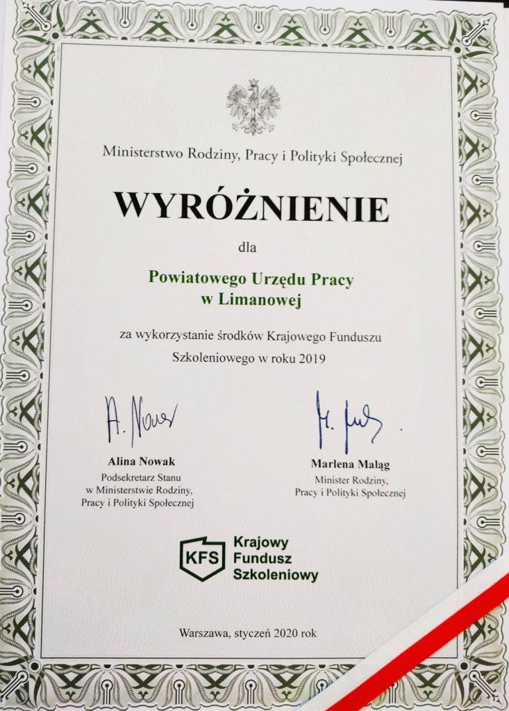 Wyróżnienie dla Powiatowego Urzędu Pracy w Limanowej - Ministerstwo Rodziny, Pracy i Polityki Społecznej  (styczeń 2019) za wykorzystanie środków krajowego fuduszu szkoleniowego w roku 2019