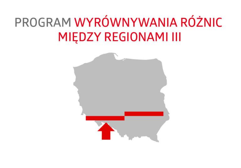 III edycja ogólnopolskiego programu pn. wyrównywanie róznic miedzy regionami - logo programu