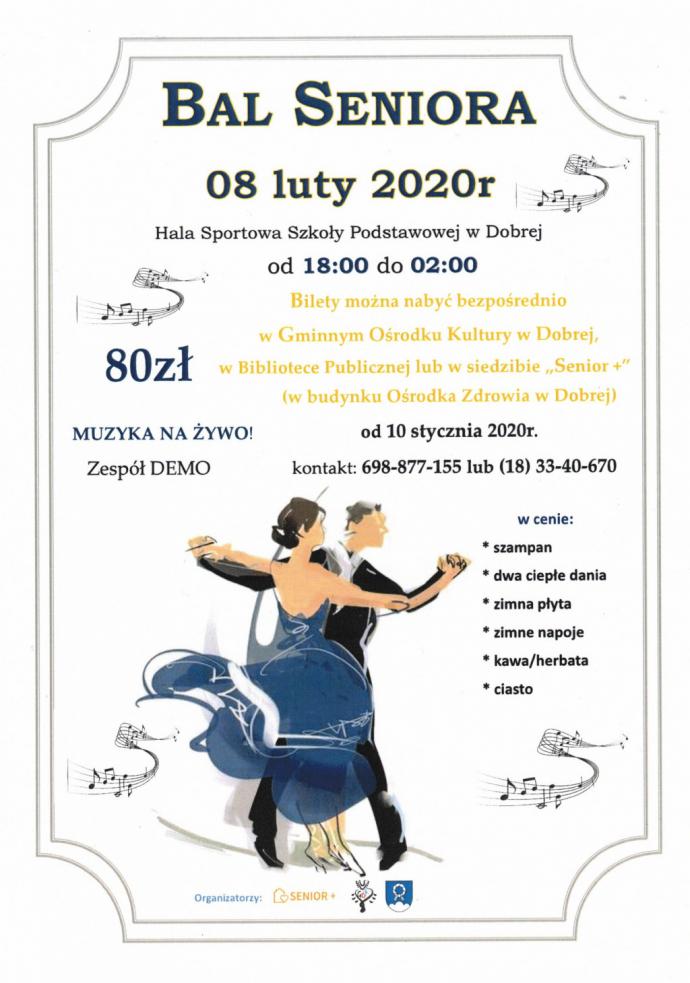 Zaproszenie na Bal Seniora - Dobra 2020