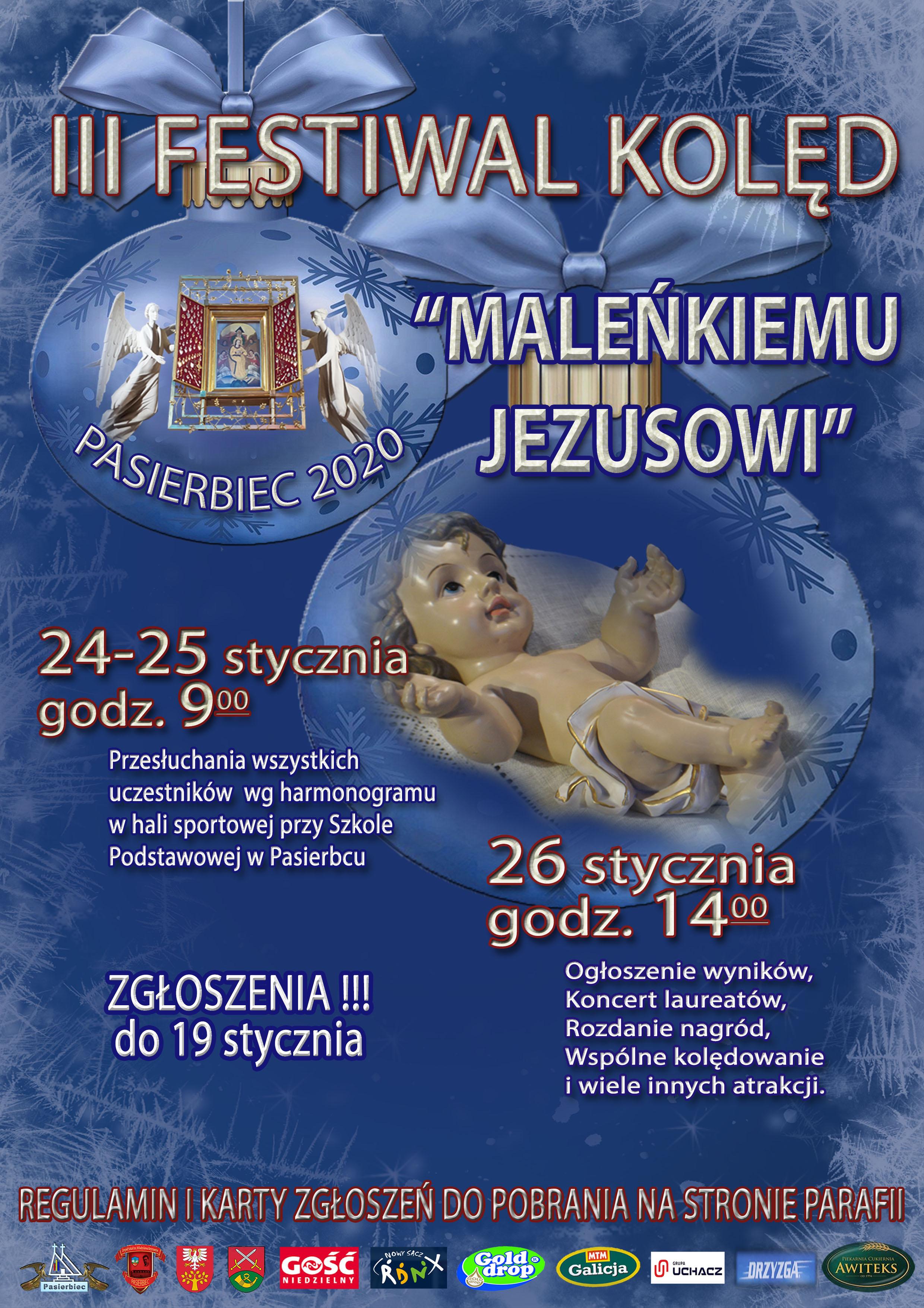 """III Festiwal Kolęd """"Maleńkiemu Jezusowi"""" na Pasierbcu - plakat"""
