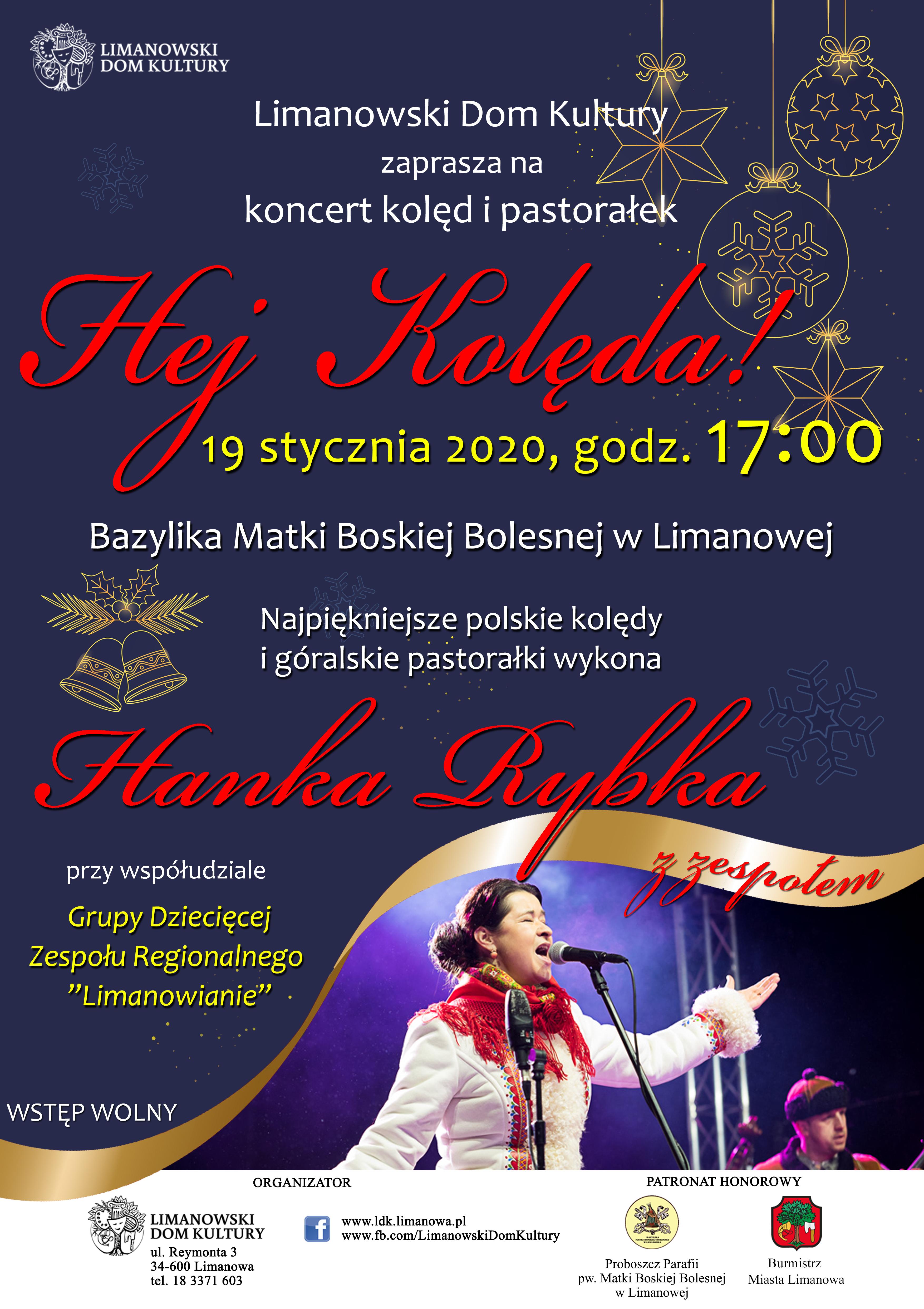 """Koncert """"Hej kolęda!"""" 19.01. Limanowa - zaproszenie"""