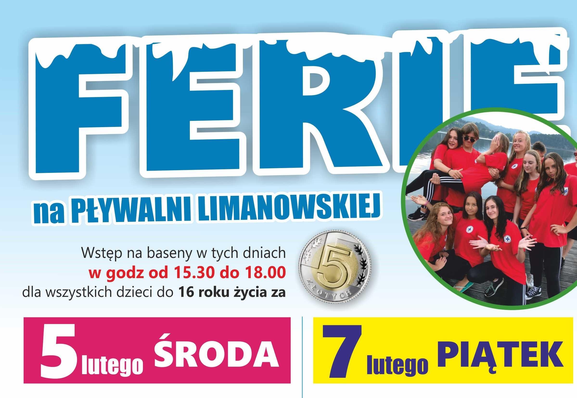 Ferie na Pływalni Limanowskiej 2020 - plakat informacyjny