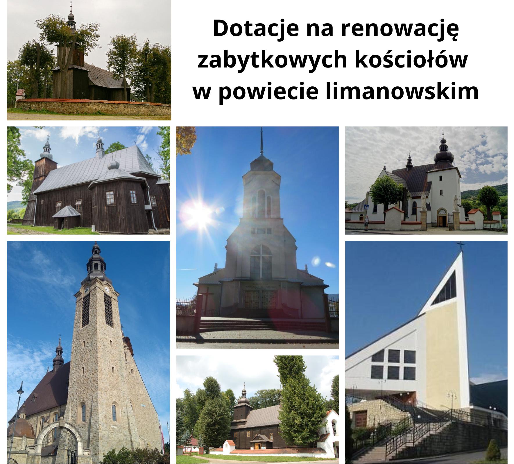Powiat Limanowski przyznał dotacje na renowacje zabytkowych kościołów- plakat informacyjny