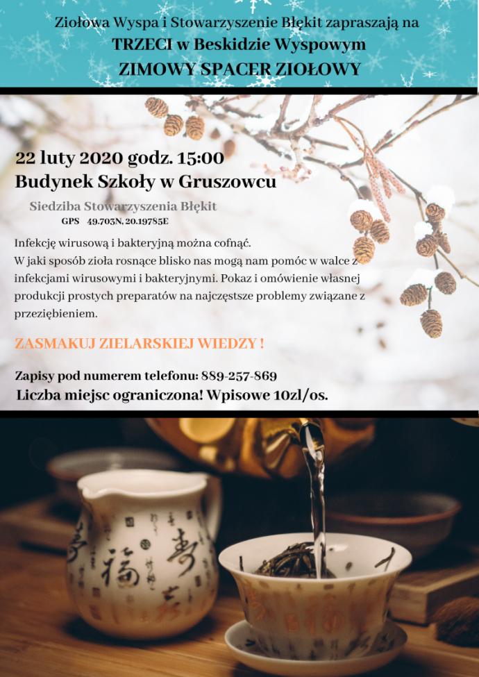 Zaproszenie na trzeci zielarski spacer zimowy w Beskidzie Wyspowym- plakat informacyjny