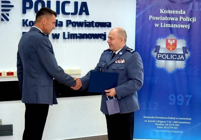 Nowy Komendant w KPP w Limanowej - powitanie