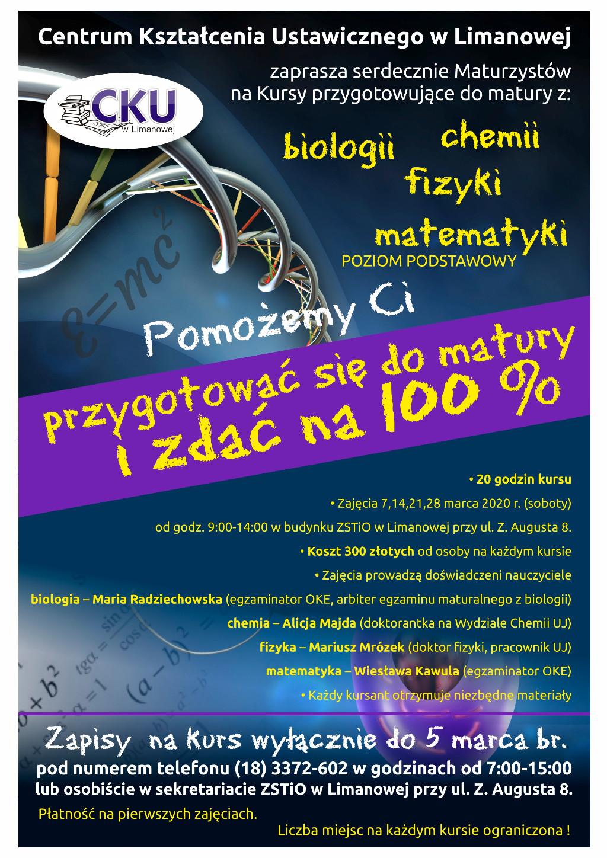 kursy powtórkowe dla maturzystów w limanowskim ZSTiO - informacja