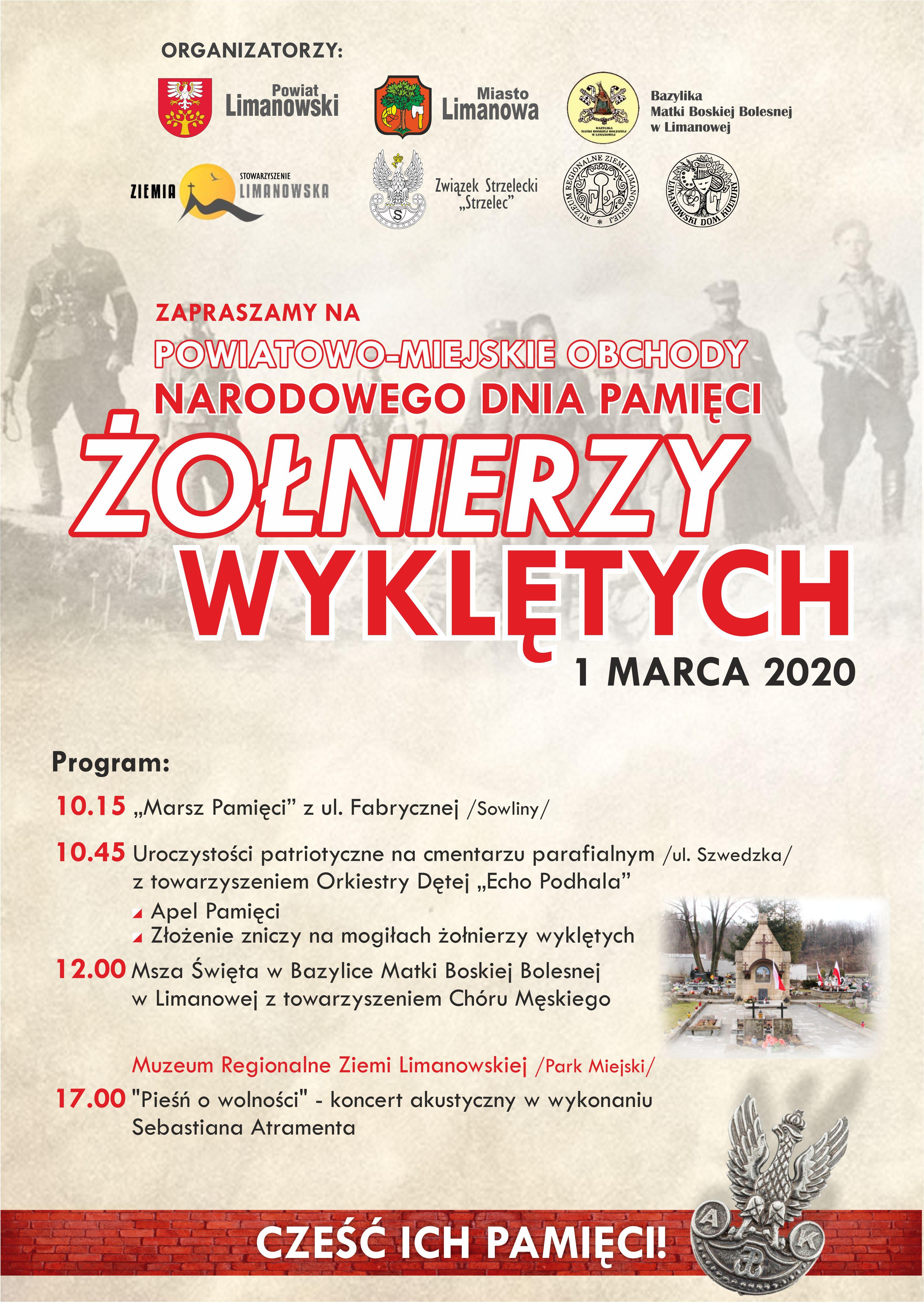 Zaproszenie do Udziału w Powiatowo - Miejskich Obchodach Narodowego Dnia Pamięci Żołnierzy Wyklętych- plakat informacyjny