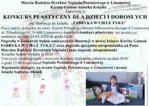 """Konkurs plastyczny powiatowego szpitala"""" - plakat informacyjny"""